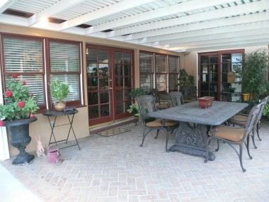 Large covered brick patio -- great for entertaining year 'round!